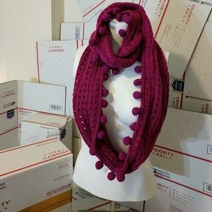 Bright Fusia Infinity Scarf with Pom-poms